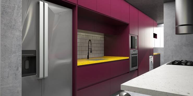 Cozinha integrada com living : Cozinhas  por Semíramis Alice Arquitetura & Design