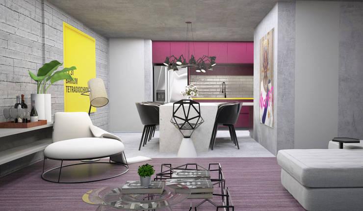 Living integrado com a cozinha: Salas de estar  por Semíramis Alice Arquitetura & Design