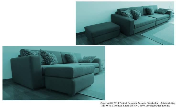 Sofá  sala versión uso familiar: Salas/Recibidores de estilo minimalista por Minimalistika.com
