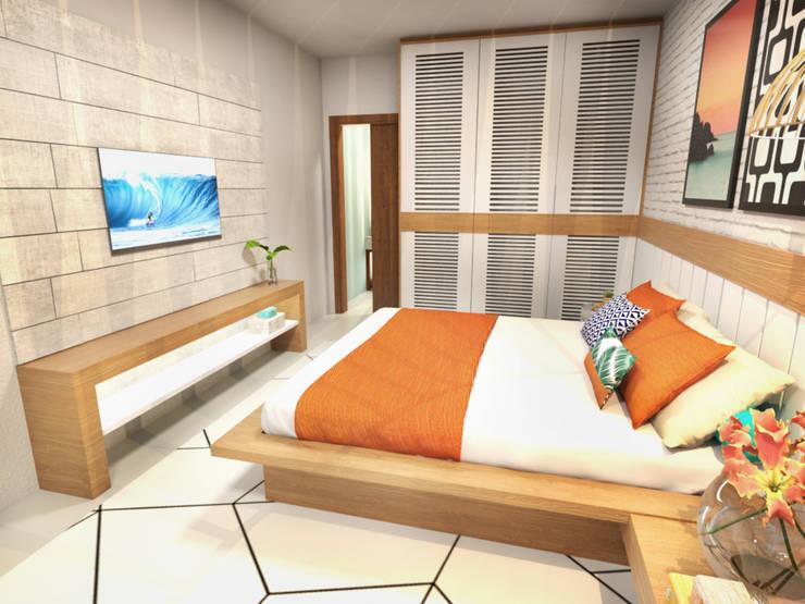 Casa de Praia : Quartos  por Daniela Andrade Arquitetura