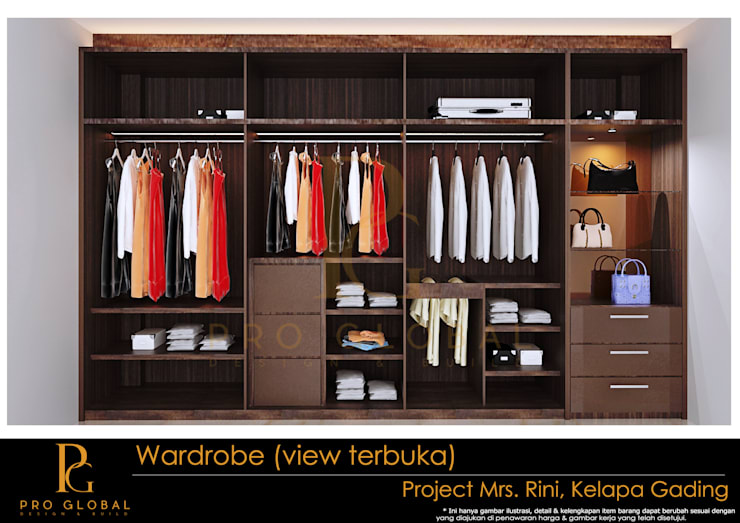 Wardrobe (Inside View):  Bedroom by Pro Global Interior