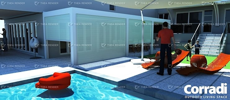 LOUNGE - PERGOTENDA MAESTRO WITH SCREENS CLOSED:  Patios by Corradi Outdoor Living Space