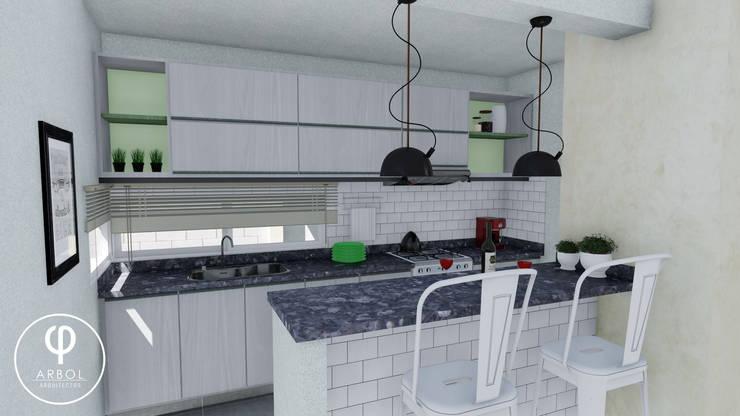 Vivienda Racional Compacta: Cocinas de estilo  por ARBOL Arquitectos ,