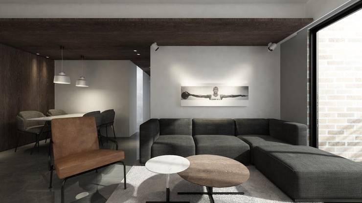 Taoyuan L House:  客廳 by 質覺制作設計有限公司