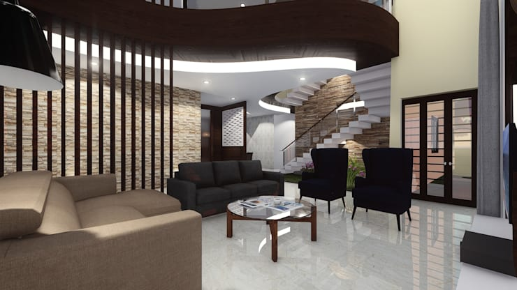 Living Room: asian Living room by Cfolios Design And Construction Solutions Pvt Ltd