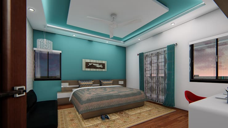 Guest Bedroom :  Bedroom by Cfolios Design And Construction Solutions Pvt Ltd
