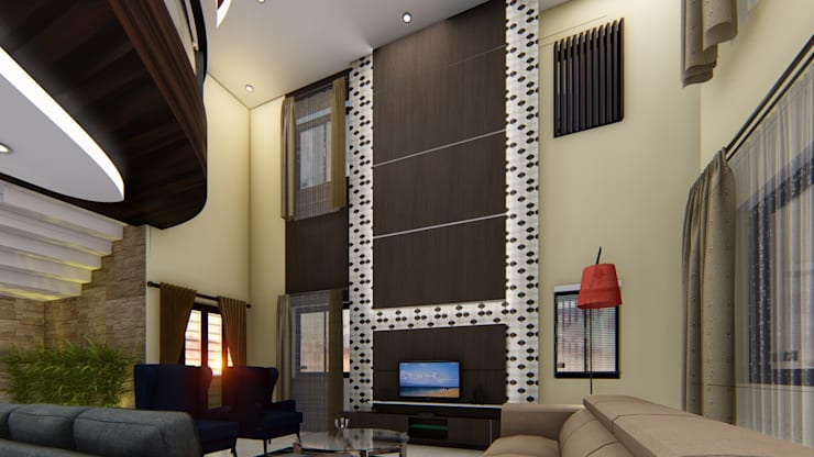 Living Hall: asian Living room by Cfolios Design And Construction Solutions Pvt Ltd