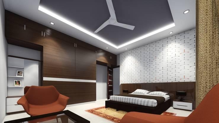 Pritam Mali, Karad: asian Bedroom by Cfolios Design And Construction Solutions Pvt Ltd