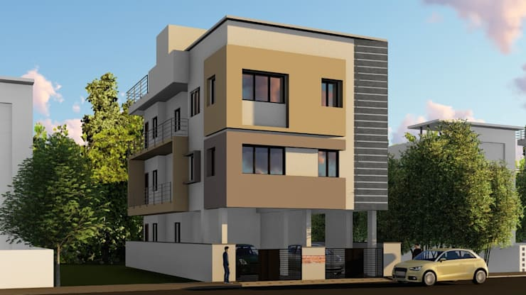 Building 3D Elevation:  Multi-Family house by Cfolios Design And Construction Solutions Pvt Ltd