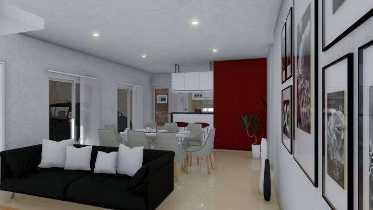 Vivienda compacta y funcional: Livings de estilo  por ARBOL Arquitectos ,Moderno