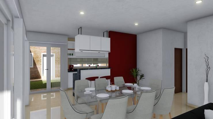 Vivienda compacta y funcional: Comedores de estilo  por ARBOL Arquitectos ,Moderno
