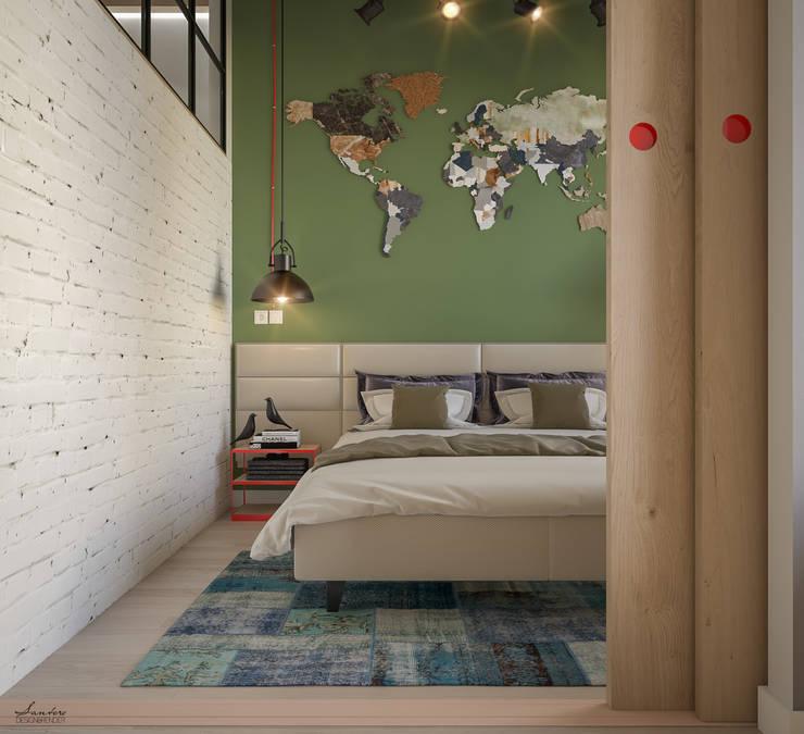 غرفة نوم تنفيذ Santoro Design Render