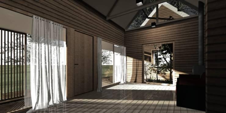 Interior casa modular: Pasillos y hall de entrada de estilo  por casa rural - Arquitectos en Coyhaique