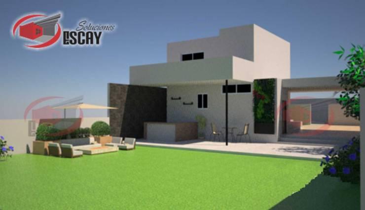 FACHADA POSTERIOR CASA CHICHI: Casas de estilo  por Escay Soluciones