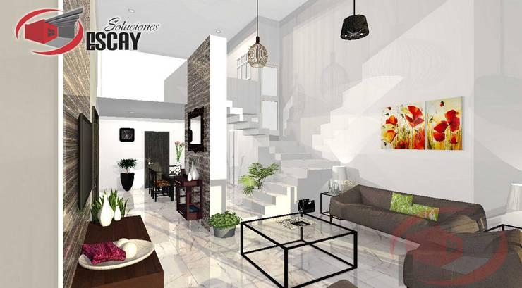 Sala Casa Chichí: Salas de estilo  por Escay Soluciones