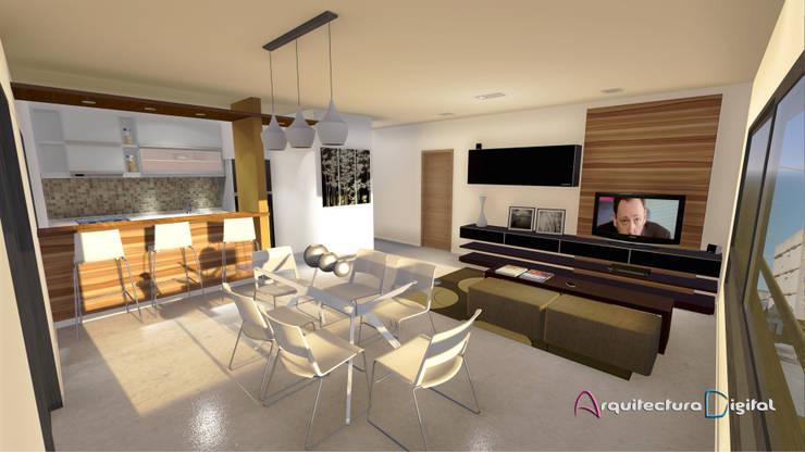 Vista depto. tipo Edificio RiaPlaza:  de estilo  por Arquitectura Digital Renderizados,
