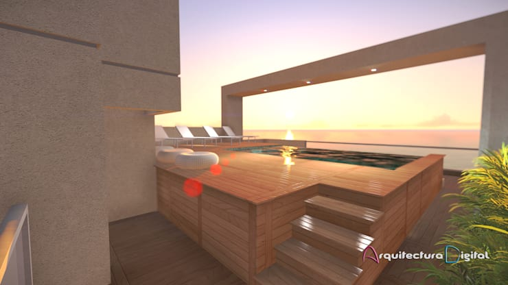 Vista Terraza Solarium Edificio DeSolaSol:  de estilo  por Arquitectura Digital Renderizados,Moderno