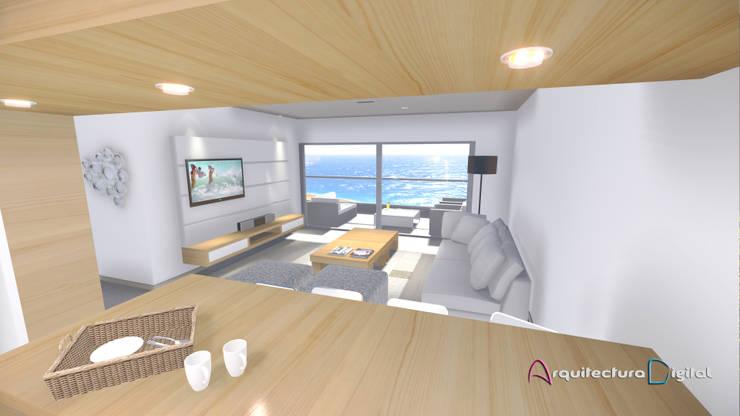 Vista depto tipo Edificio DeSolaSol:  de estilo  por Arquitectura Digital Renderizados,Moderno