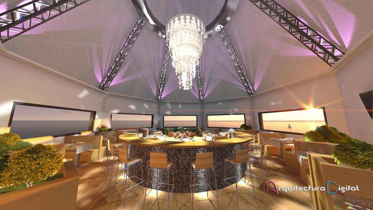 Vista Confitería Proyecto Hotel Playa del Este:  de estilo  por Arquitectura Digital Renderizados,Moderno