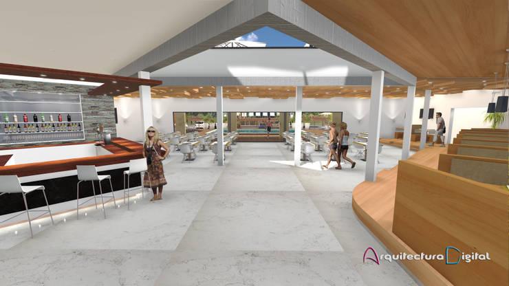 Vista Hall y Confitería Hotel Playa del Este:  de estilo  por Arquitectura Digital Renderizados,Moderno
