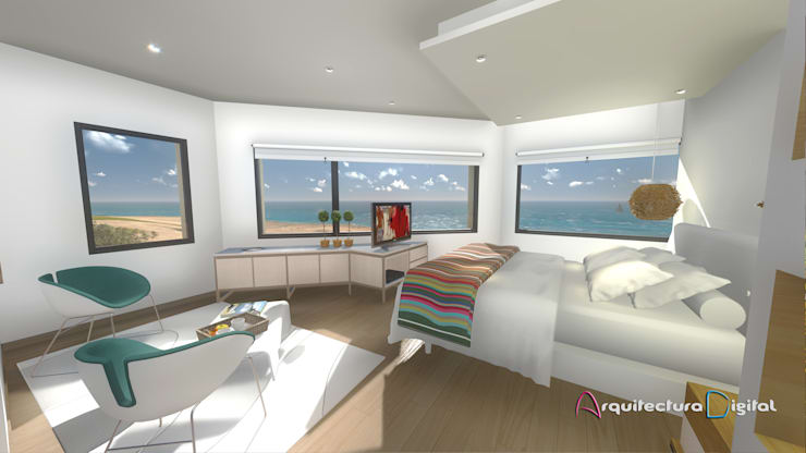 Vista habitación Hotel Playa del Este:  de estilo  por Arquitectura Digital Renderizados,Moderno