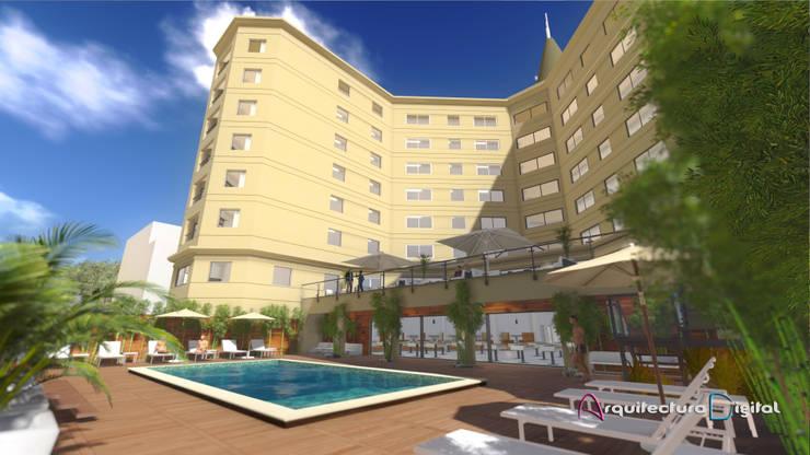 Vista exterior contrafrente Hotel Playa del Este:  de estilo  por Arquitectura Digital Renderizados,Moderno