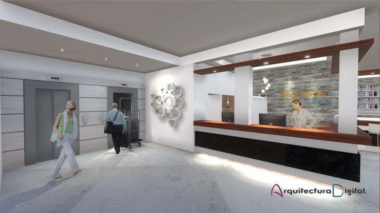 Vista Hall Recepción Hotel Playa del Este:  de estilo  por Arquitectura Digital Renderizados,Moderno