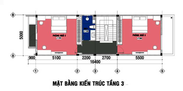 Tư vấn phương án bố trí mặt bằng mẫu nhà ống 4 tầng 5x20m:  Nhà gia đình by Công ty TNHH Xây Dựng TM – DV Song Phát