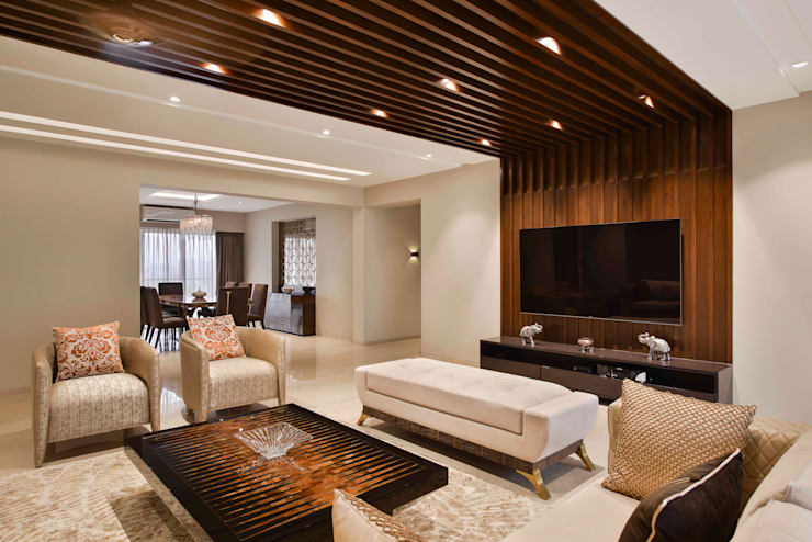 The Warm Bliss:  Living room by Ar. Milind Pai,Minimalist Marble