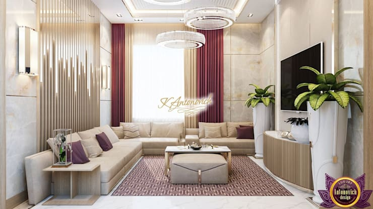 Fashionable design 2018 by Katrina Antonovich:  Living room by Luxury Antonovich Design, Modern