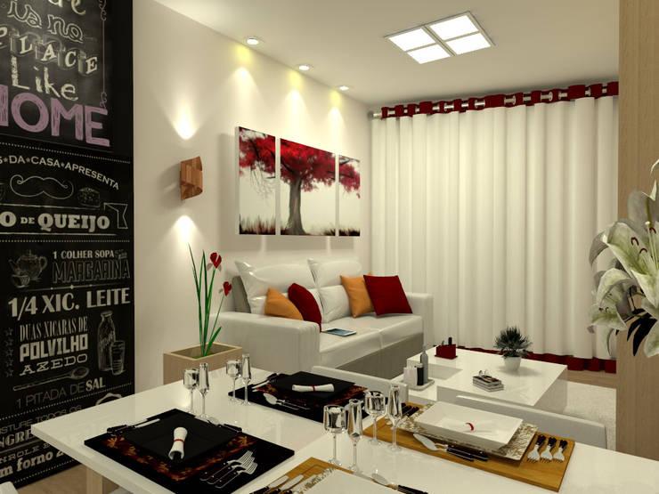 Vista 2 da Sala de Estar Integrada: Salas de estar  por Multiplanos Arquitetura