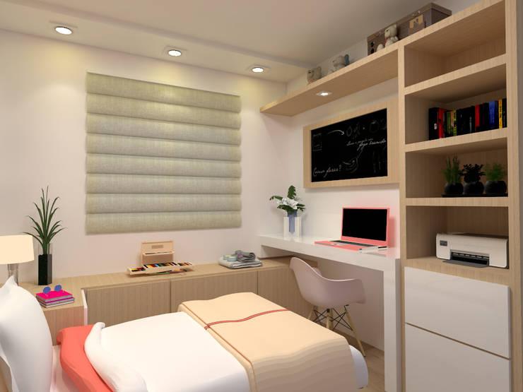 Vista 2 do quarto feminino: Quartos  por Multiplanos Arquitetura