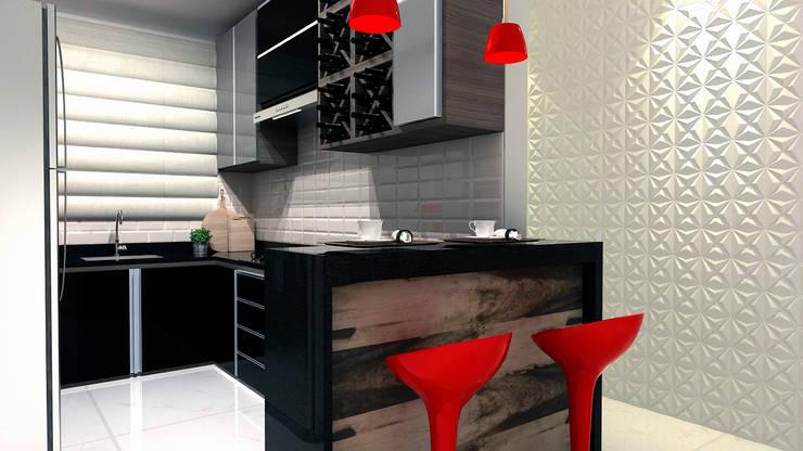 Cozinha Integrada: Armários e bancadas de cozinha  por Multiplanos Arquitetura
