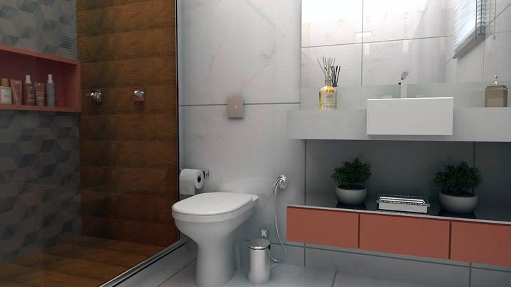 Banheiro Social: Banheiros  por Multiplanos Arquitetura