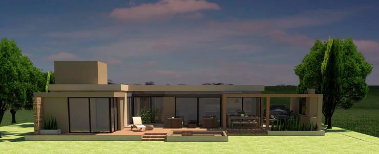 Fachada contrafrente: Casas unifamiliares de estilo  por NA ARQUITECTURA