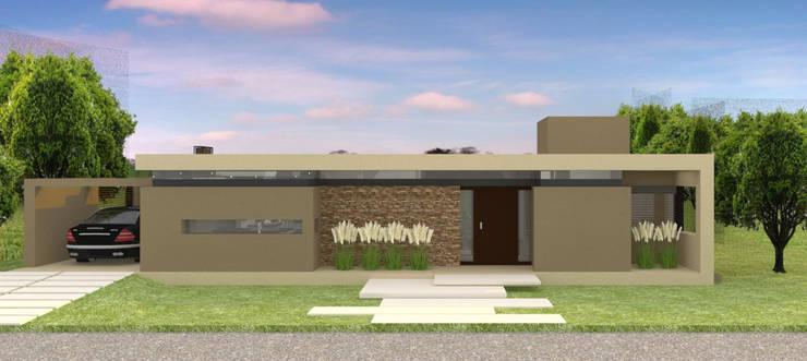 Fachada frente: Casas unifamiliares de estilo  por NA ARQUITECTURA