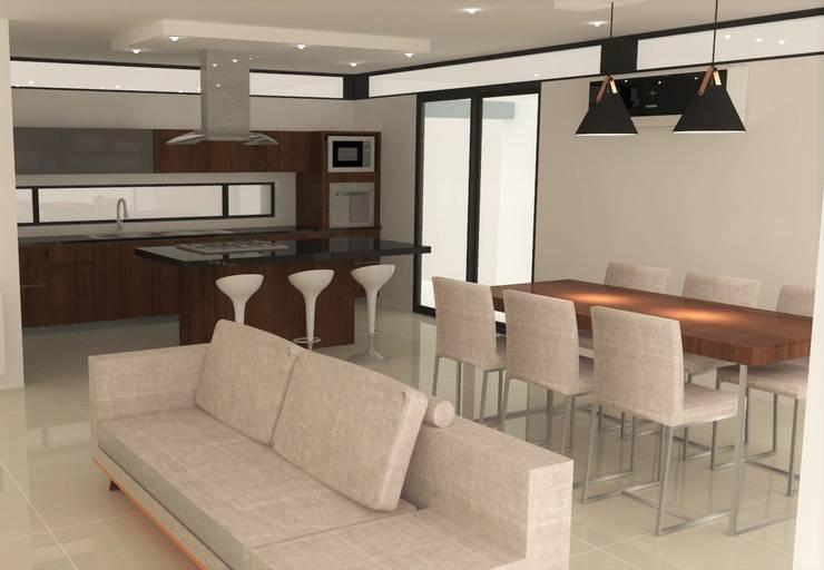 Detalle opción de cocina y mobiliario: Cocinas a medida  de estilo  por NA ARQUITECTURA