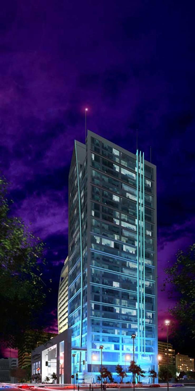 RENDERS EXTERIORES Y AÉREOS DE EDIFICIO EN SANTIAGO DE CHILE: Casas de estilo  por Javier Figueroa 3D