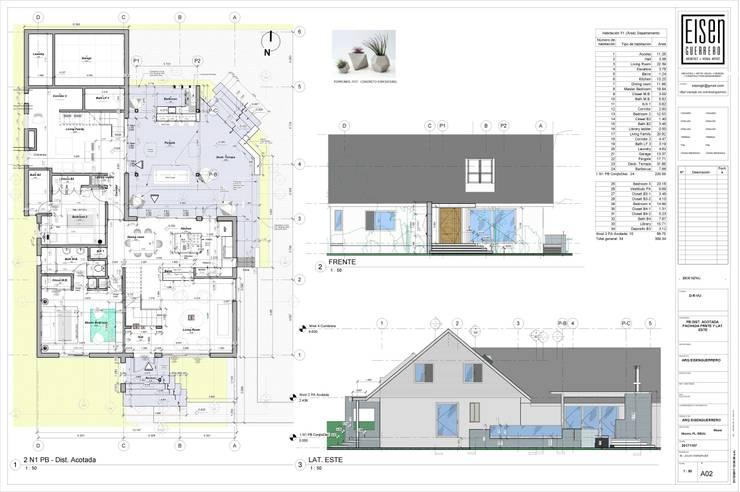 Planta Baja Distribución. Fachada Frontal y Lateral Este.: Casas de madera de estilo  por Eisen Arquitecto