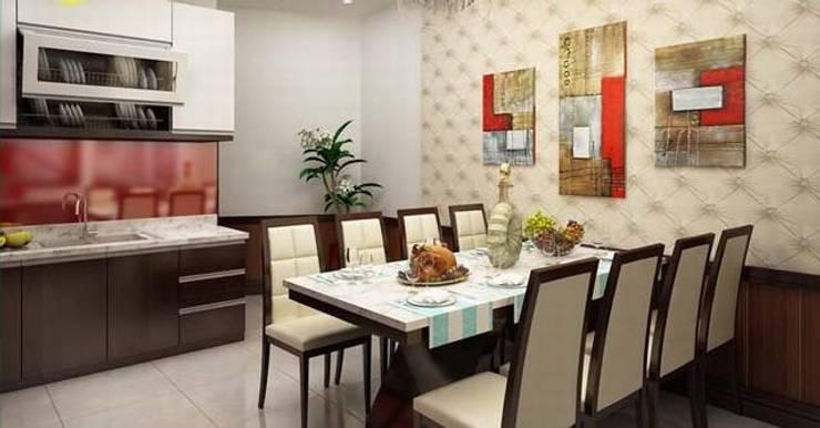 Bộ bàn ăn lớn phục vụ được nhiều người:  Phòng ăn by Công ty TNHH Thiết Kế Xây Dựng Song Phát