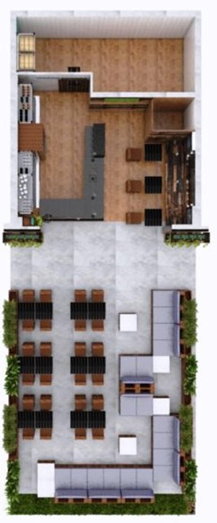 Planta render: Restaurantes de estilo  por MAHO arquitectura y diseño, C.A