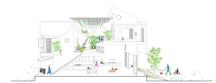 Bản vẽ mặt cắt ngôi nhà lệch tầng:  Nhà gia đình by Công ty TNHH Xây Dựng TM – DV Song Phát