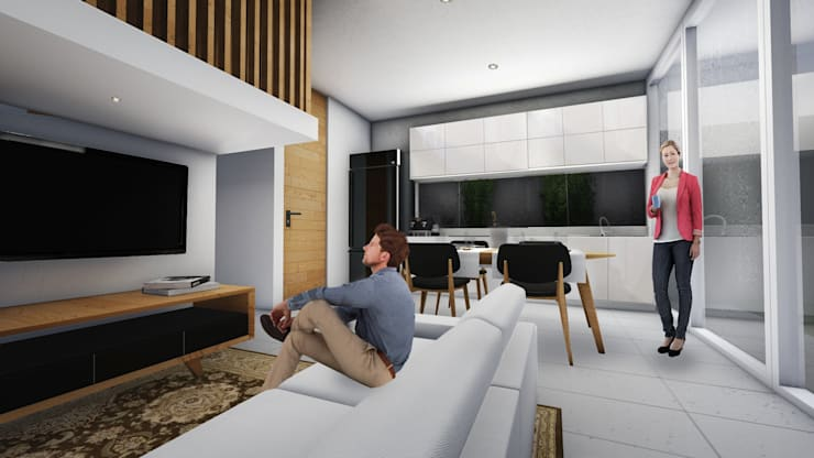 Living Room A:  Ruang Keluarga by ARAT Design
