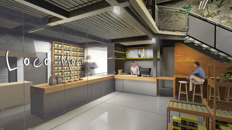 Cashier Area lantai 1 A:  Ruang Komersial by ARAT Design