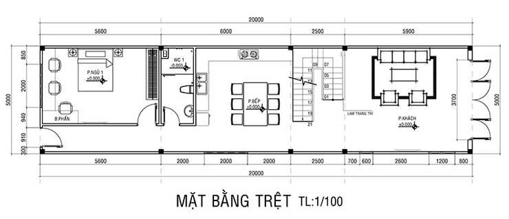 Mặt bằng tầng trệt nhà phố 2 tầng.:  Nhà by Công ty TNHH Thiết Kế Xây Dựng Song Phát