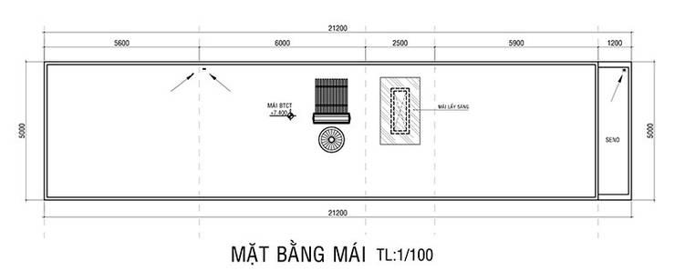 Bản vẽ mặt bằng mái nhà phố 2 tầng.:  Nhà gia đình by Công ty TNHH Thiết Kế Xây Dựng Song Phát