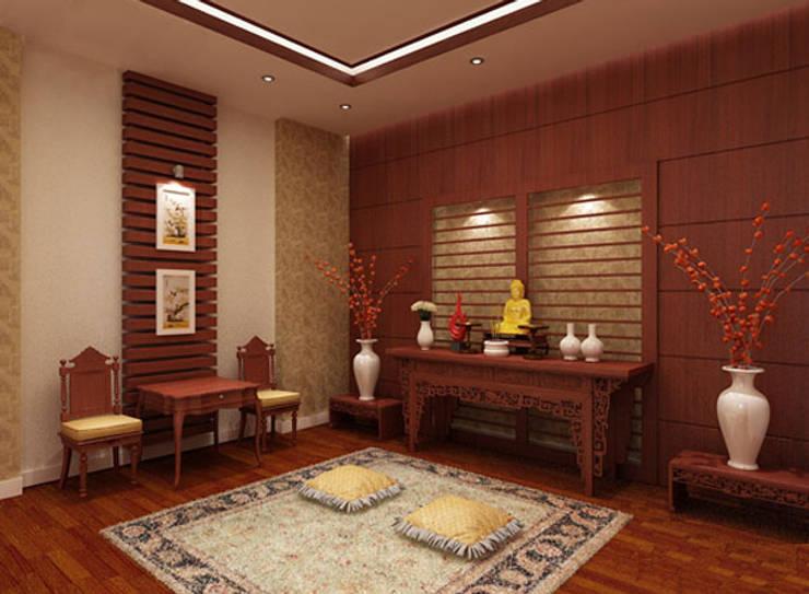 Không gian tôn nghiêm và thiêng liêng tại phòng thờ.:  Nhà gia đình by Công ty TNHH Thiết Kế Xây Dựng Song Phát
