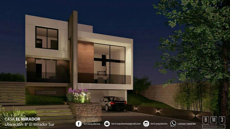 Fachada - nocturna: Casas unifamiliares de estilo  por BM3 Arquitectos,