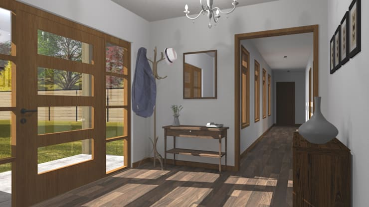 CASA M-M: Pasillos y hall de entrada de estilo  por Pro Aus Arquitectos