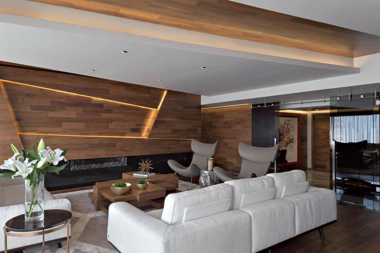 Remodelación Departamento Frondoso, CDMX.: Salas de estilo  por Art.chitecture, Taller de Arquitectura e Interiorismo 📍 Cancún, México.